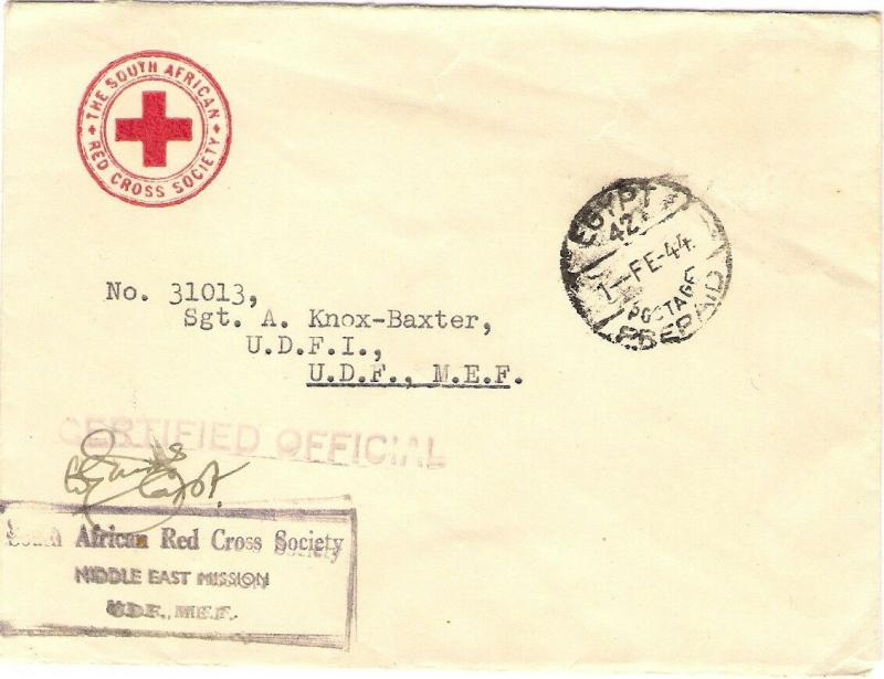 South African Red Cross Society 1944 MIDDLE EAST MISSION MEF Egypt Prepaid