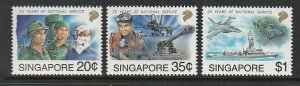 1992 Singapore -Sc 631-33 - 3 singles - MNH VF - National Military Forces