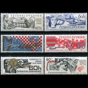 CZECHOSLOVAKIA 1969 - Scott# 1610-5 Events Set of 6 NH