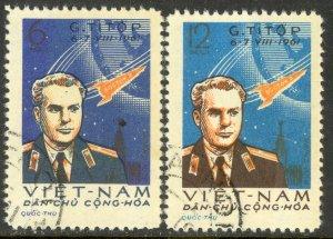 VIETNAM NORTH 1961 Gherman Titov's Space Flight Set Sc 174-175 CTO Used