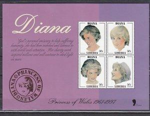 Liberia, 1998 issue. Diana Sheet of 4. ^