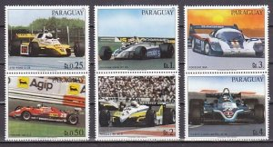 Paraguay, Scott cat. 2068 a-f. Racing Cars issue. ^