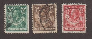 NORTHERN RHODESIA Sc 1 to 3 / USED hinged / King George V