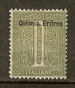 Eritrea, Scott #1, Overprinted 1c Issue, MH