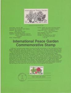 US SP590 Peace Garden Souvenir Page #2014