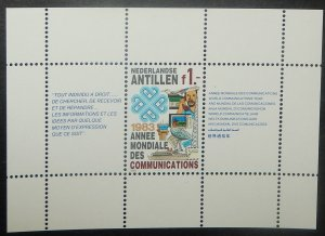 Netherlands Antilles 492a. 1983 1G Communications souvenir sheet, NH