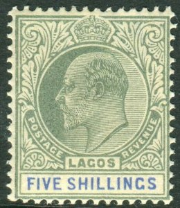 LAGOS-1904 5/- Green & Blue. A lightly mounted mint example Sg 52