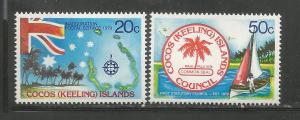 COCOS ISLANDS, 32-33, MNH, INAUGURATION POSTAL SERVICE