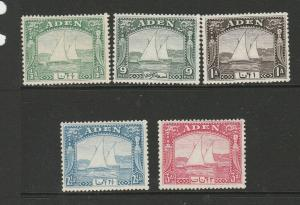 Aden 1937 Dhows 5 vals to 3As as shown, unused no gum, except 1/2A MM