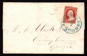 $US Sc#11a experimental orange brown VF stamp, Amonette Cert., Cv. $700