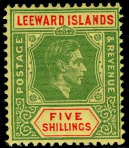 LEEWARD ISLANDS SG112c, 5s bright green & red/yellow, LH MINT. Cat £60.