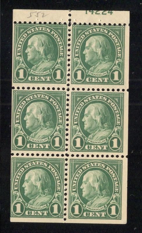 US#552a Green - Booklet Pane of 6 w/Plate# - O.G. - N.H.