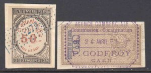 FRANCE SOUND REVENUE STAMPS ON PIECE VF BEAUTIFUL CANCELS