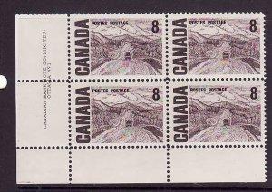 Canada-Sc#461-Unused NH 8c Alaska Highway Centennial-LL plate block #1-Dex gum-1