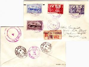 Martinique 10c and 1.40F Village of Basse-Pointe and 1.25F and 2.25F 1939 New...
