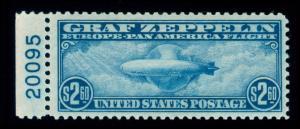 MOMEN: US STAMPS #C15 ZEPPELIN MINT OG NH PSE GRADED CERT VF-80