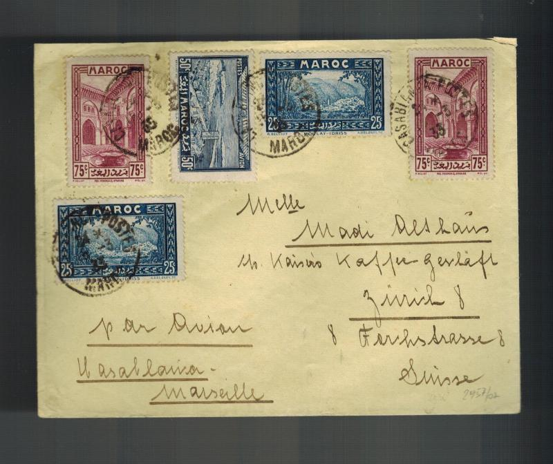 1933 Casablanca Morocco  airmail cover to Switzerland