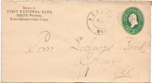 United States Wisconsin Berlin 1894 double ring cds  Postal Stationery Envelo...