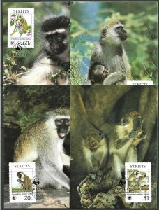 1986 St. Kitts WWF, Monkeys, complete set on 4 FDC Maxi Cards! LOOK!