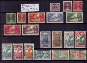 MH French Guiana Sc 109-117 Others French Guinea Twenty Stamps Total (1913-1940)