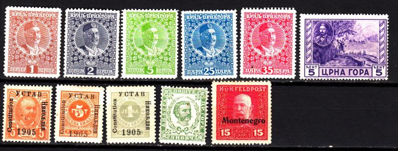 Montenegro 11 different mh