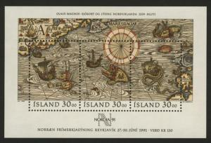 Iceland 681 MNH Map, Ships, Nordica 91