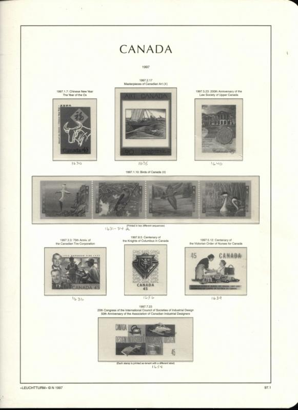 1997 Canada Lighthouse Hingeless Supplement Pages Used