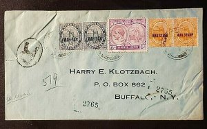 1924 St Kitts and Nevis Buffalo New York War Tax Overprint Multi Franking Cover