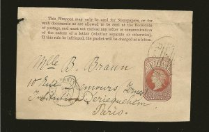 Great Britain Queen Victoria PM 1881 Half Penny Newspaper Wrapper Front Used