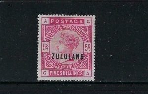 ZULULAND SCOTT #11 1892 GREAT BRITAIN OVERPRINTED ZULULAND 5SH - MINT HINGED