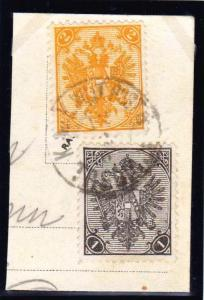 AUSTRIA BOSNIA 1900. two currency mixed postage  2 kreuzer + 1 heller