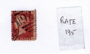 Great Britain 1858-79 Victoria Penny Red (Plate 195) [Used]