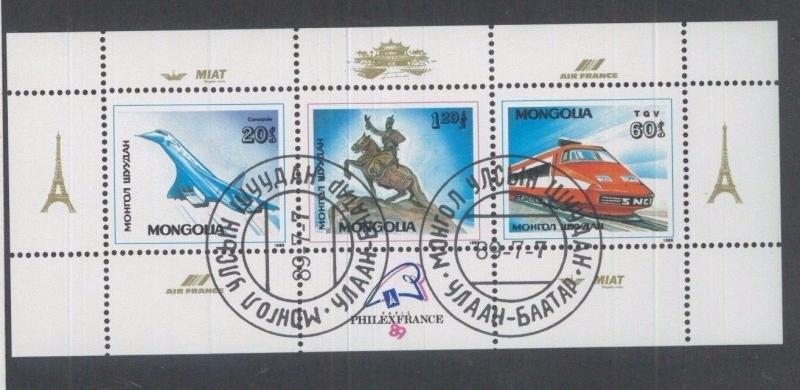 MONGOLIA Souvenir Sheet Sc# 1740 Used - Air France - FOS142