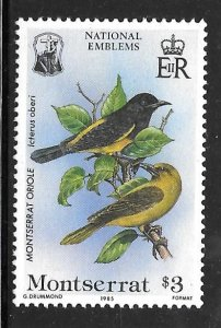 Montserrat 553: $3 Montserrat Oriole, MH, VF