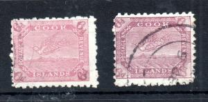 Cook Islands 1898-1900 6d SG#18 & 18A fine used WS13421