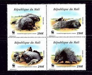 Mali 918 MNH 1998 W.W.F. block of 4