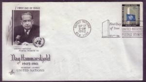 United Nations FDC Sc. #  108 Dag Hammarskjold     L2