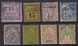 GUADELOUPE - MINT NO GUM & USED GROUP OF EIGHT STAMPS - SMALL FAULTS - V273