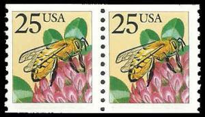 PCBstamps     US #2281f Coil Pair 50c(2x25c)Honeybee, large block tag, MNH, (2)