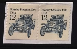 US #2132 Used Coil Pair F/VF - Stanley Steamer (on paper)