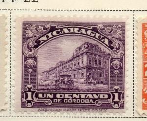 Nicaragua 1914-22 Early Issue Fine Mint Hinged 1c. 323625