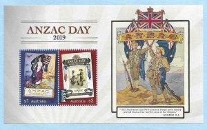 2019    AUSTRALIA  -  ANZAC DAY  -  MINISHEET  -  MNH