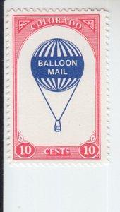 1978 Colorado Local Post Balloon Mail (Scott NA) MNH