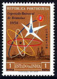 Portuguese India 568, MNH. World's Fair, Brussels. Emblem and View, 1958