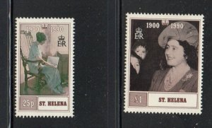 St Helena Sc 532-33 1990 90th Birthday Queen Mother stamp set mint NH