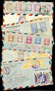 EDW1949SELL : BOLIVIA Nice group 6 Registered Air Mail covers to Australia.