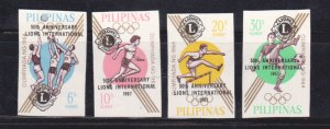 PHILIPPINES 1967 50th ANNI. OF LIONS INTERNATIONAL / OLYMPICS OVPT 4V MNH IMPERF