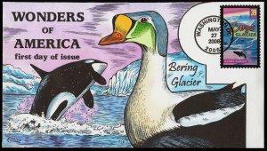 Collins Handpainted FDC Wonders of America: Bering Glacier, whale (5/27/2006)