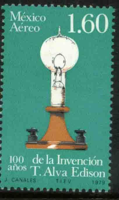 MEXICO C621, Cent Invention of Electric Light. MINT, NH. F-VF.