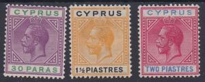 CYPRUS 1921 KGV 30PA 11/2PI AND 2PI WMK MULTI SCRIPT CA